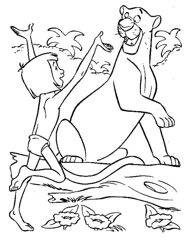 Jungle Book, : Bagheraa is Surprised Meet Mowgli in Jungle Book Coloring Pages