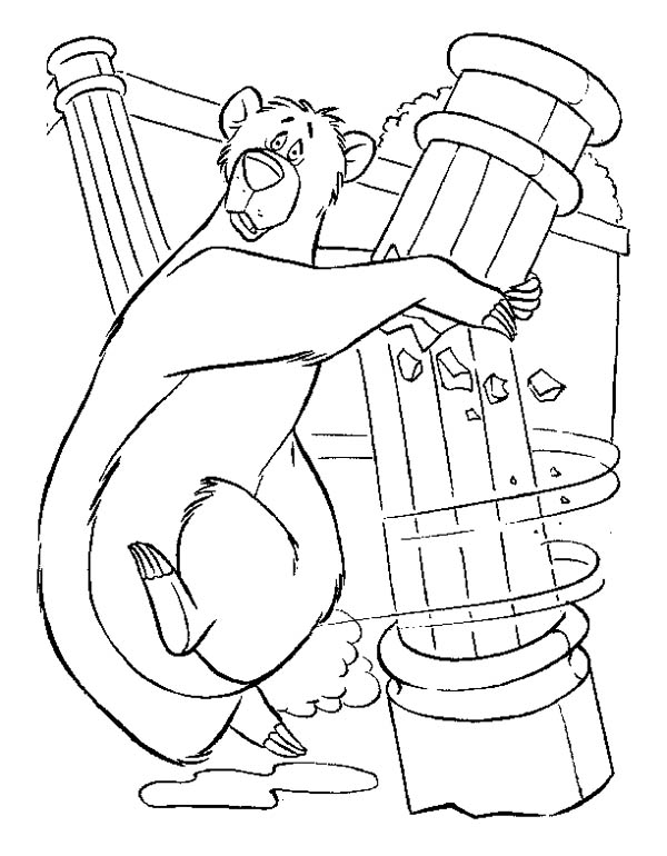 Jungle Book, : Baloo Holding Pillar in Jungle Book Coloring Pages