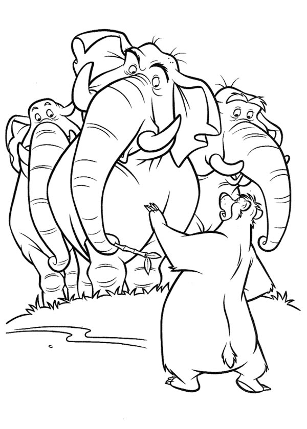 Jungle Book, : Baloo Talk to Colonel Hathi in Jungle Book Coloring Pages
