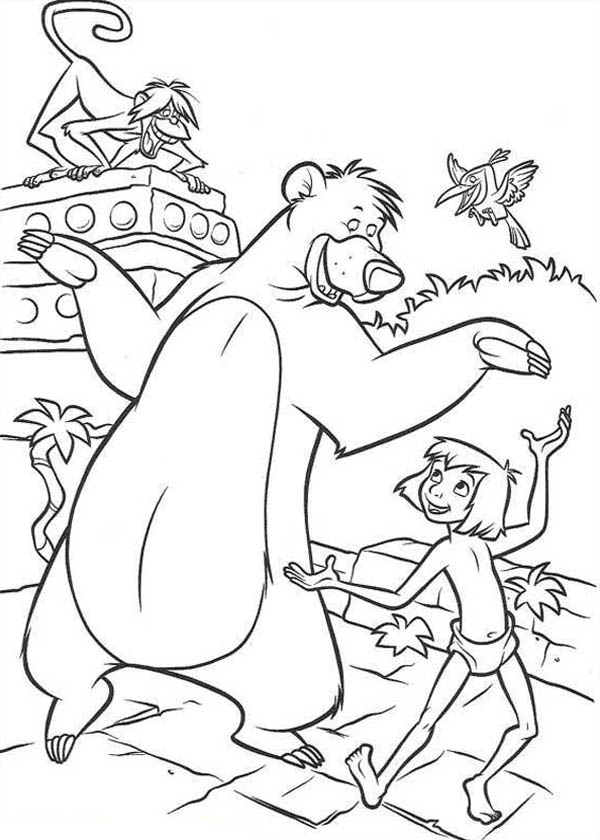 Jungle Book, : Baloo Teach Mowgli How to Dance in Jungle Book Coloring Pages