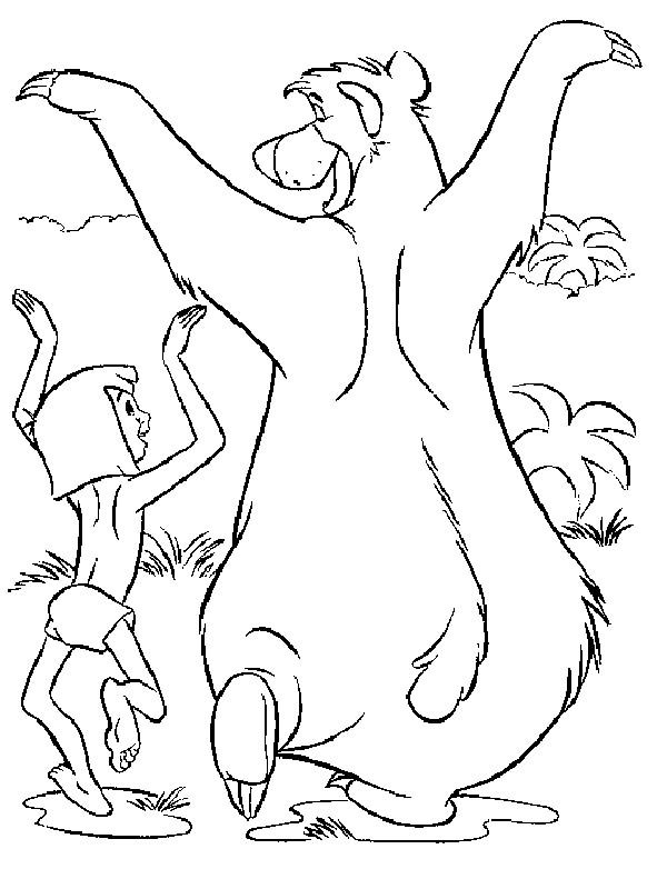 Jungle Book, : Baloo and Mowgli Funny Walk in Jungle Book Coloring Pages