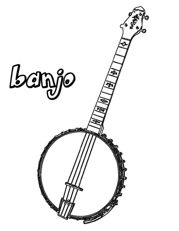 Musical Instruments, : Banjo is a Musical Instruments Coloring Pages