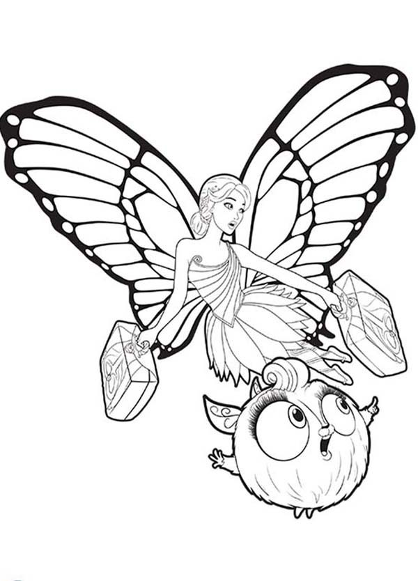 Barbie Mariposa, : Barbie Mariposa Bring Two Suitcase Coloring Pages