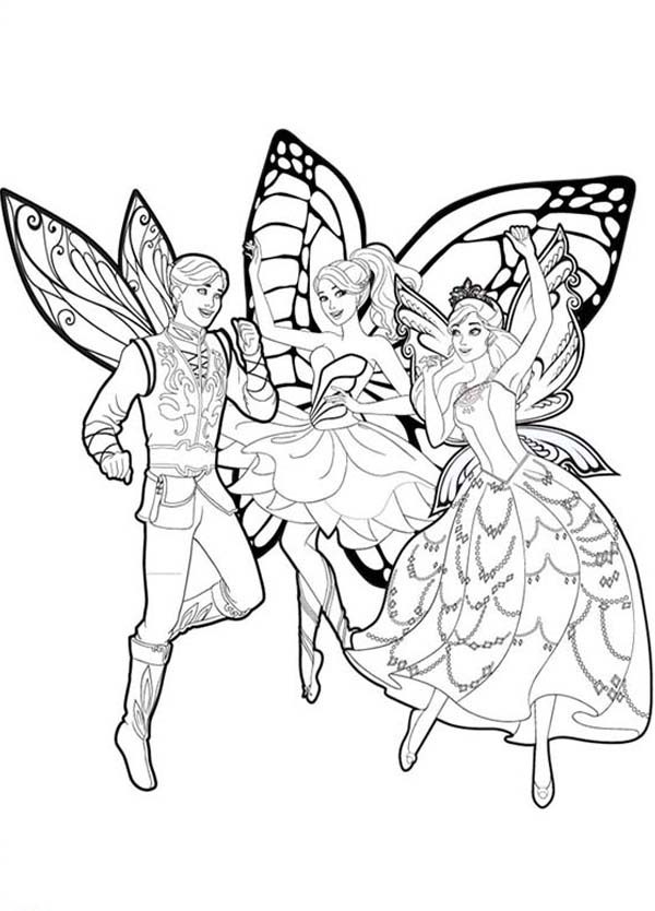 Barbie Mariposa, : Barbie Mariposa and Her Butterfly Fairy Friends Coloring Pages