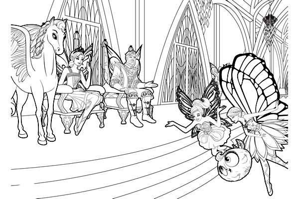 Barbie Mariposa, : Barbie Mariposa in Front of Flutterfield King and Queen Coloring Pages