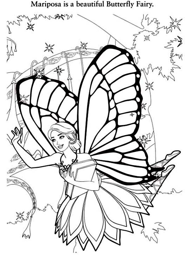 Barbie Mariposa, : Barbie Mariposa is a Beautiful Butterfly Fairy Coloring Pages