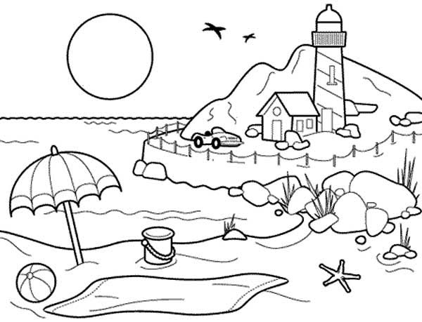 Landscapes, : Beach Landscapes with Lighthouse Coloring Pages