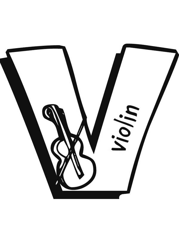 Letter V, : Big Caps Letter V Coloring Page