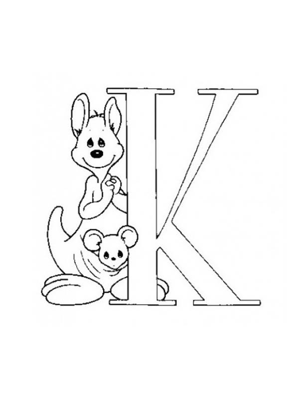Letter K, : Big Case Letter K for Kangaroo Coloring Page