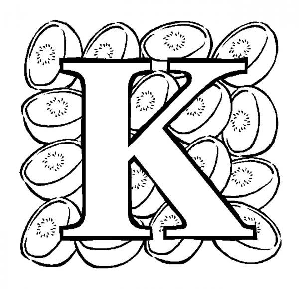 Letter K, : Big Case Letter K for Kiwi Coloring Page
