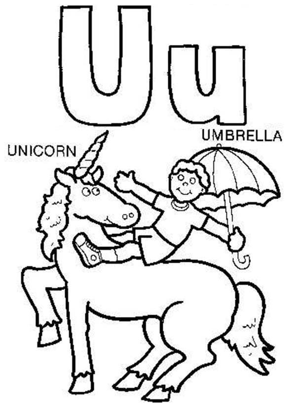 Letter U, : Big Case and Small Letter U  for Unicorn Coloring Page