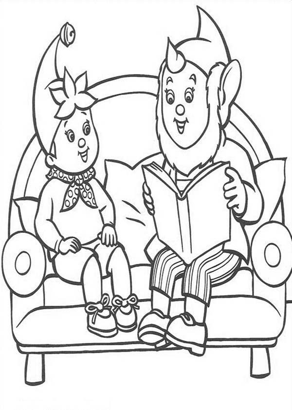 Noddy, : Big Ear Telling Story to Noddy Coloring Pages