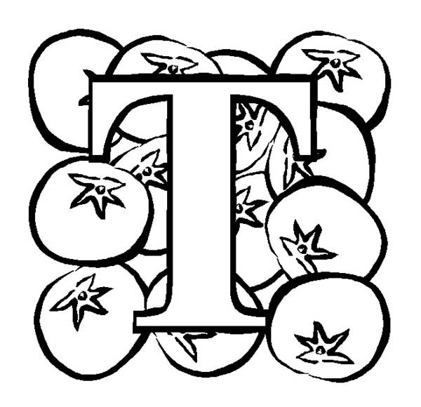 Letter T, : Big Letter T for Tomato Coloring Page