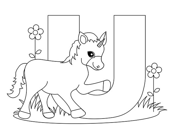 Letter U, : Big Letter U for Unicorn Coloring Page