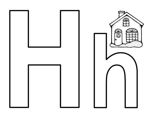 Letter H, : Bigcase Letter H for House Coloring Page