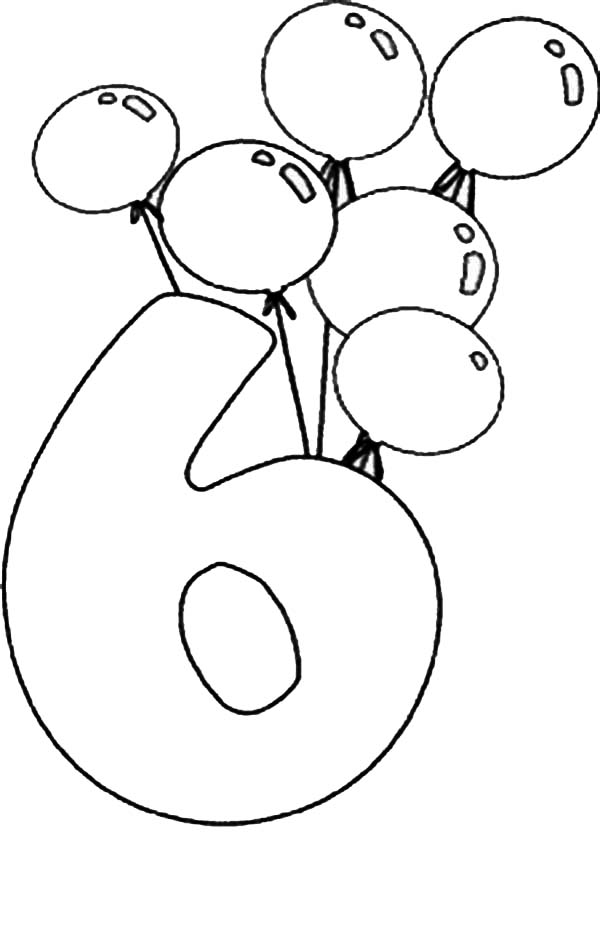 Number 6, : Birthday Balloons and Number 6 Coloring Page