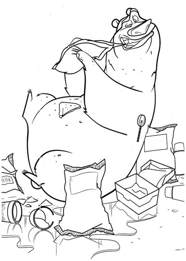 Oliver and Company, : Boog Eat a Lot of Food in Open Season Coloring Pages