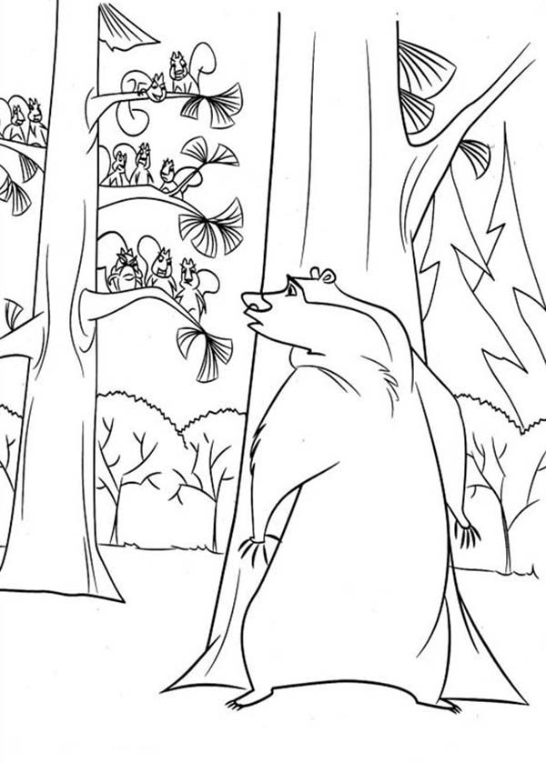 Oliver and Company, : Boog Hide Behind a Tree in Open Season Coloring Pages
