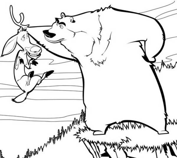 Oliver and Company, : Boog is Angry to Elliot in Open Season Coloring Pages