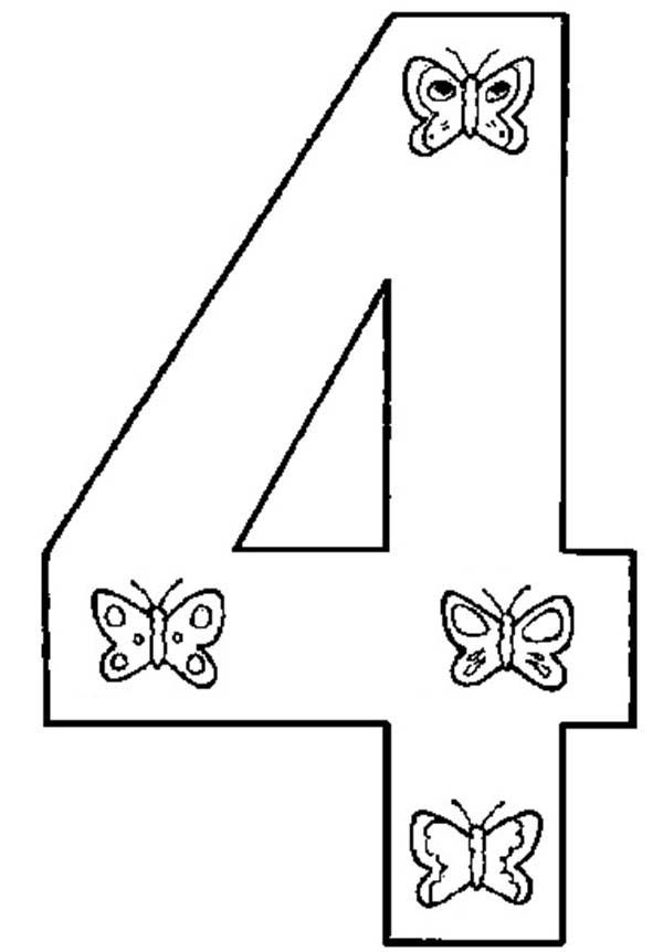 Number 4, : Butterfly Number 4 Coloring Page