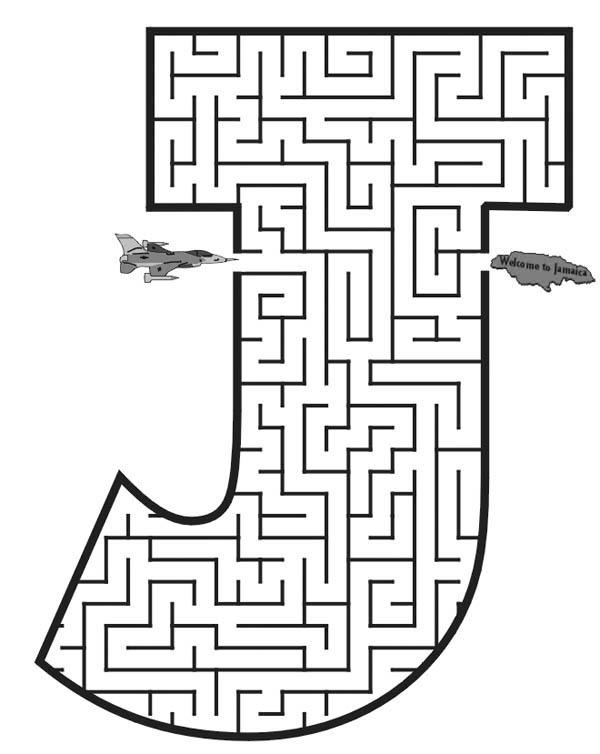 Letter J, : Capital Letter J Maze Coloring Page