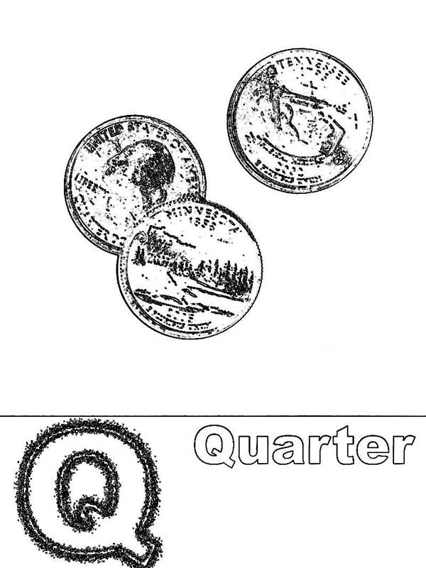 Letter Q, : Capital Letter Q for Quarter Coloring Page