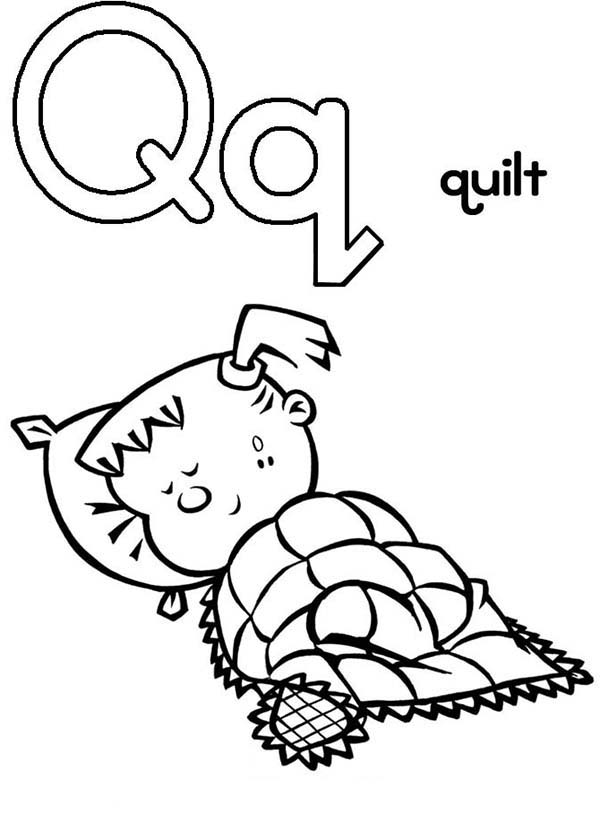 Letter Q, : Capital Letter Q for Quilt Coloring Page for Preschool Kids