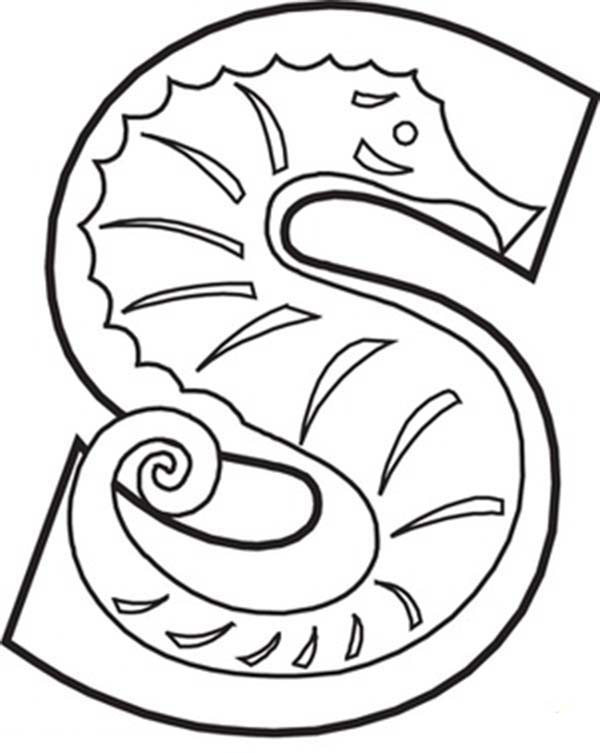 Letter S, : Capital Letter S Coloring Page for Preschool Kids