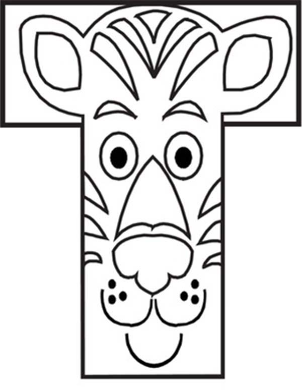 Letter T, : Capital Letter T iis for Tiger Coloring Page