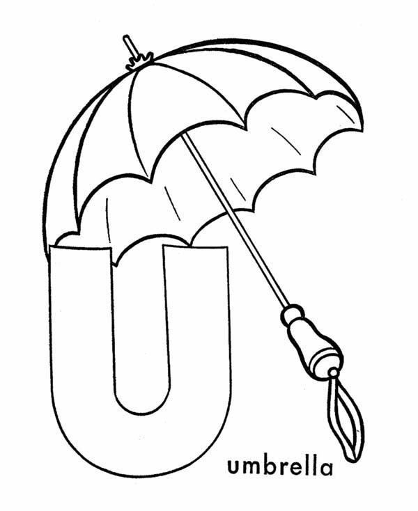 Letter U, : Capital Letter U is for Umbrella Coloring Page