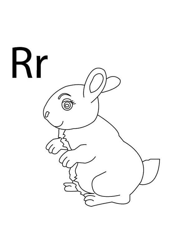 Letter R, : Capital and Small Letter R for Rabbit Coloring Page