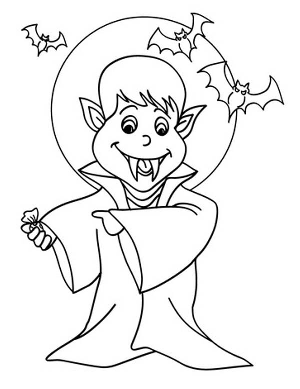 Hotel Transylvania, : Cartoon of Vampire Under the-Moonlight in Hotel Transylvania Coloring Pages