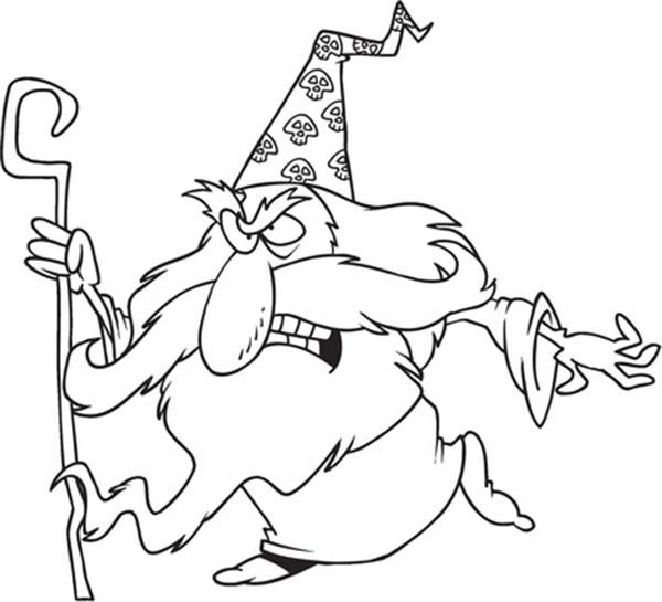 Merlin the Wizard, : Chibi Merlin the Wizard is Angry Coloring Pages