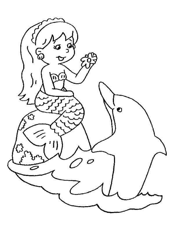 Mermaid, : Chibi Mermaid and Her Friend Dolphin Coloring Pages
