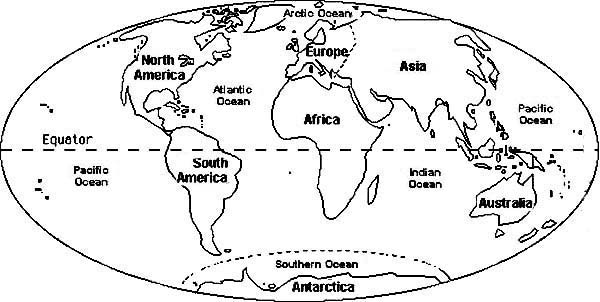 Maps, : Circle World Maps Coloring Pages