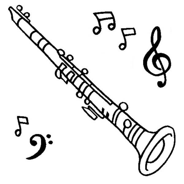 Musical Instruments, : Clarinet is a Musical Instruments Coloring Pages
