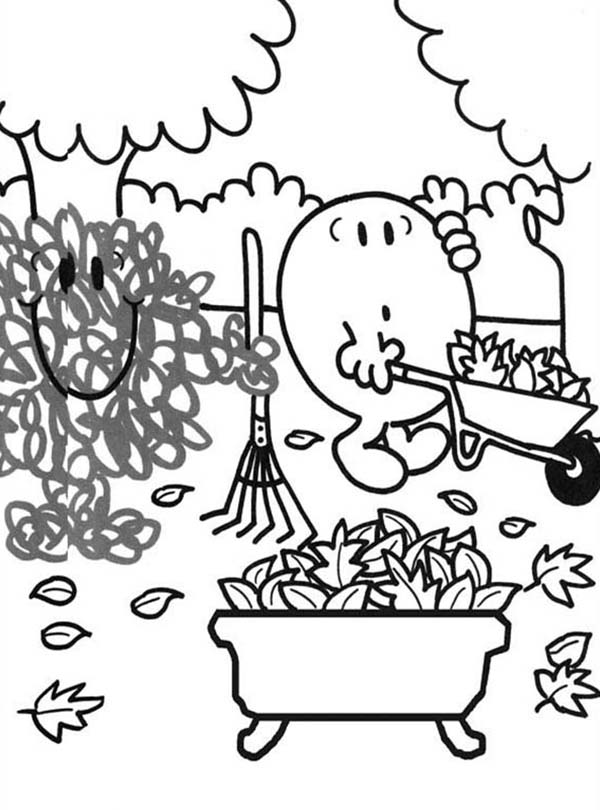 Mr Men and Little Miss, : Cleaning Dry Leaves in Autumn in Mr Men and Little Miss Coloring Pages