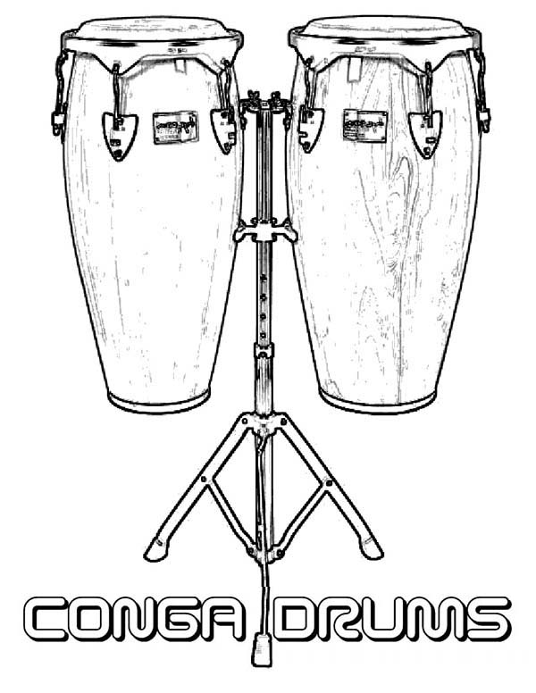 Musical Instruments, : Conga Drums is a Musical Instruments Coloring Pages
