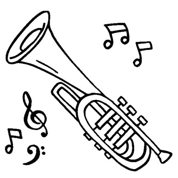 Musical Instruments, : Cornet is a Musical Instruments Coloring Pages