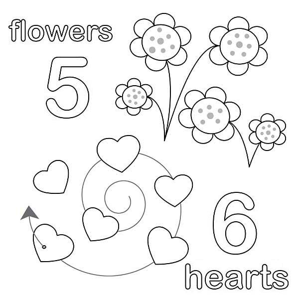 Number 5, : Counting Number 5 Coloring Page