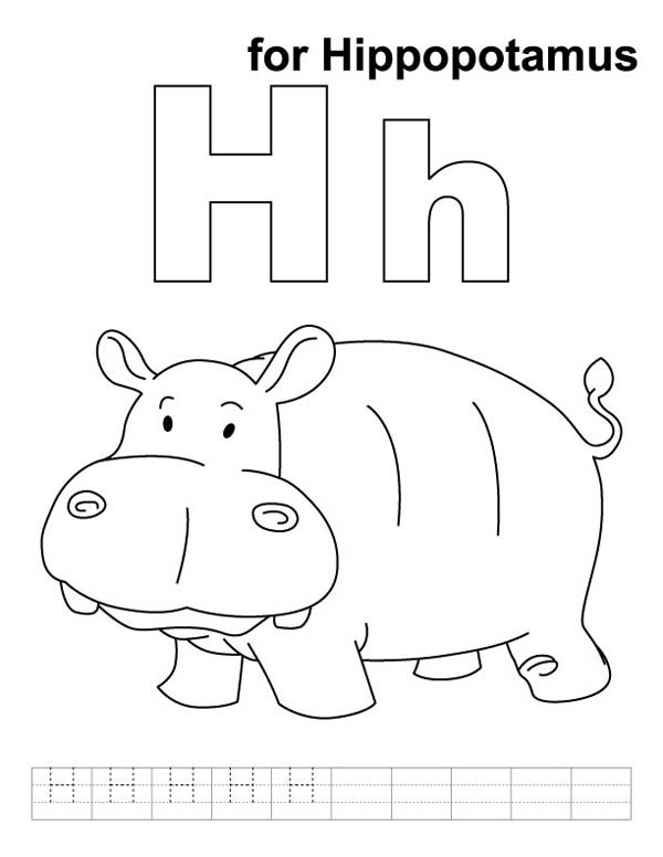 Letter H, : Cute Hippo Learn Letter H Coloring Page