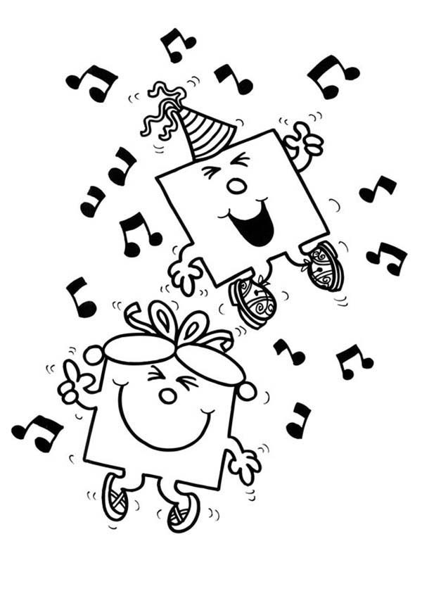 Mr Men and Little Miss, : Dance with Music in Mr Men and Little Miss Coloring Pages