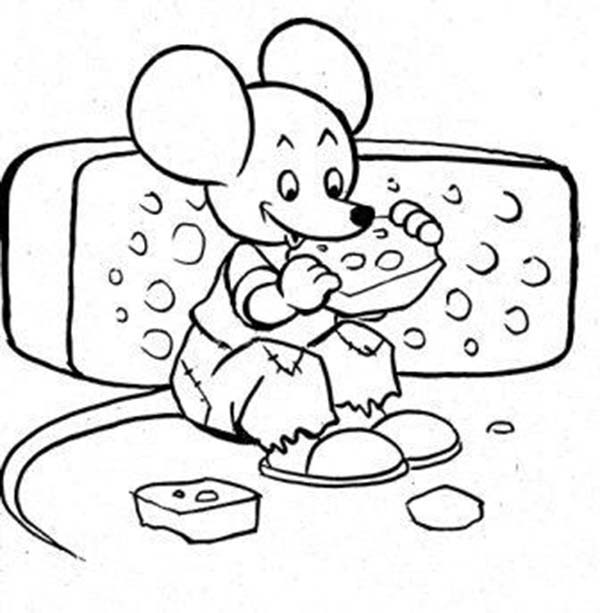 Mouse and Rat, : Delicious Cheese Eat by Mouse and Rat Coloring Pages