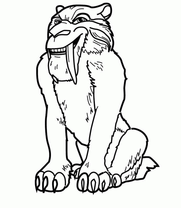 Ice Age, : Diego the Saber Tooth Tiger in Ice Age Coloring Pages