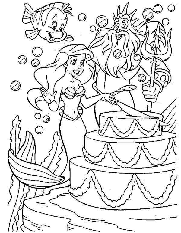 Mermaid, : Disney Mermaid Princess Ariel Birthday Coloring Pages