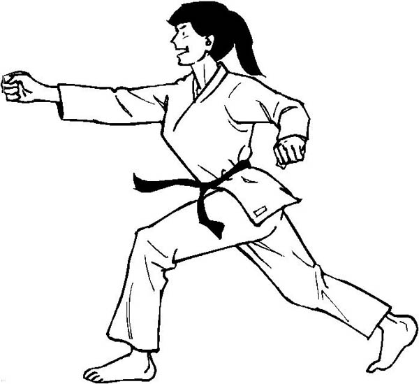 Judo, : Distance Punch in Judo Coloring Pages
