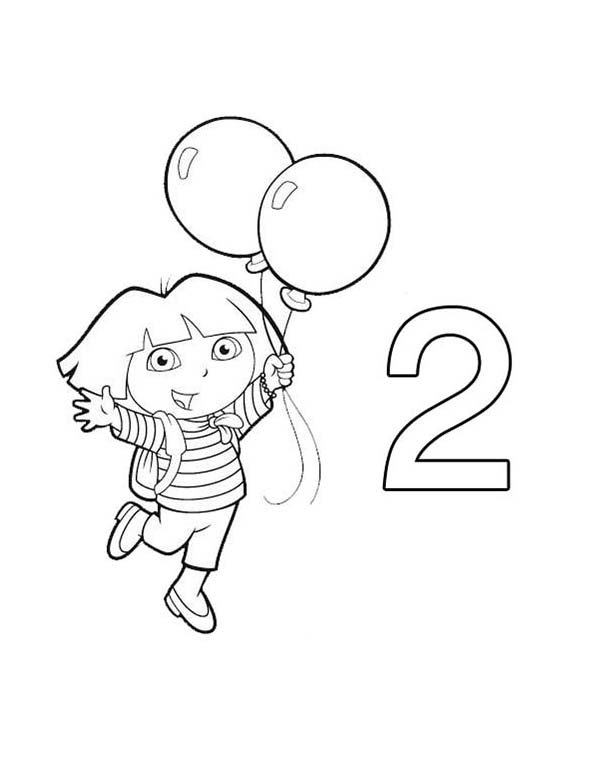 Number 2, : Dora Learn Number 2 with Two Balloons Coloring Page