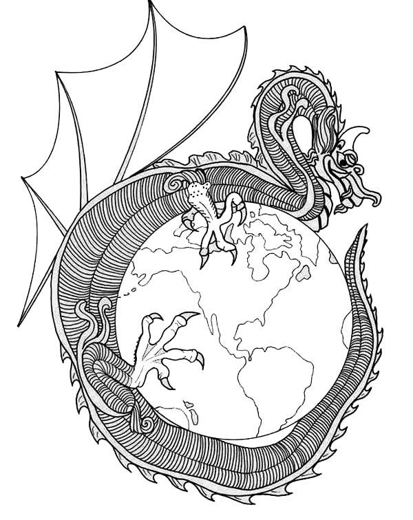 Mandala Animal, : Dragon Conquer the World Mandala Animal Coloring Pages