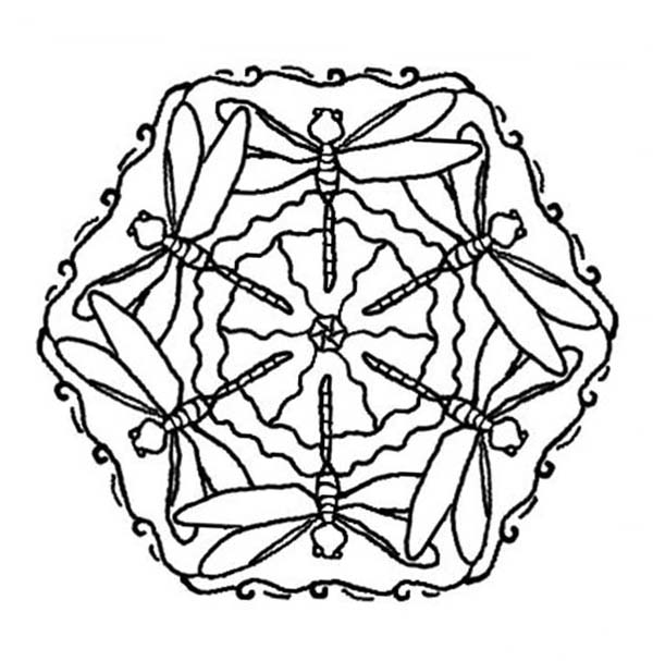 Mandala Animal, : Dragonfly Mandala Animal Coloring Pages