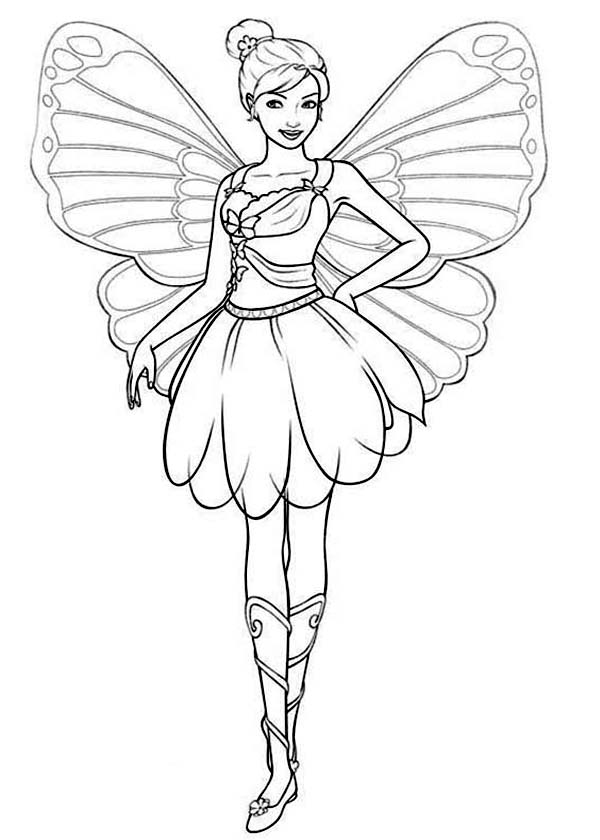 Drawing Barbie Mariposa Coloring Pages Bulk Color